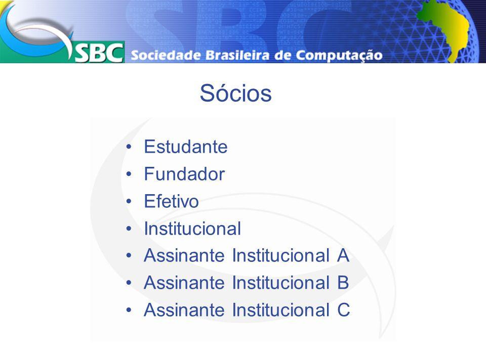 Sócios Estudante Fundador Efetivo Institucional Assinante Institucional A Assinante Institucional B Assinante Institucional C