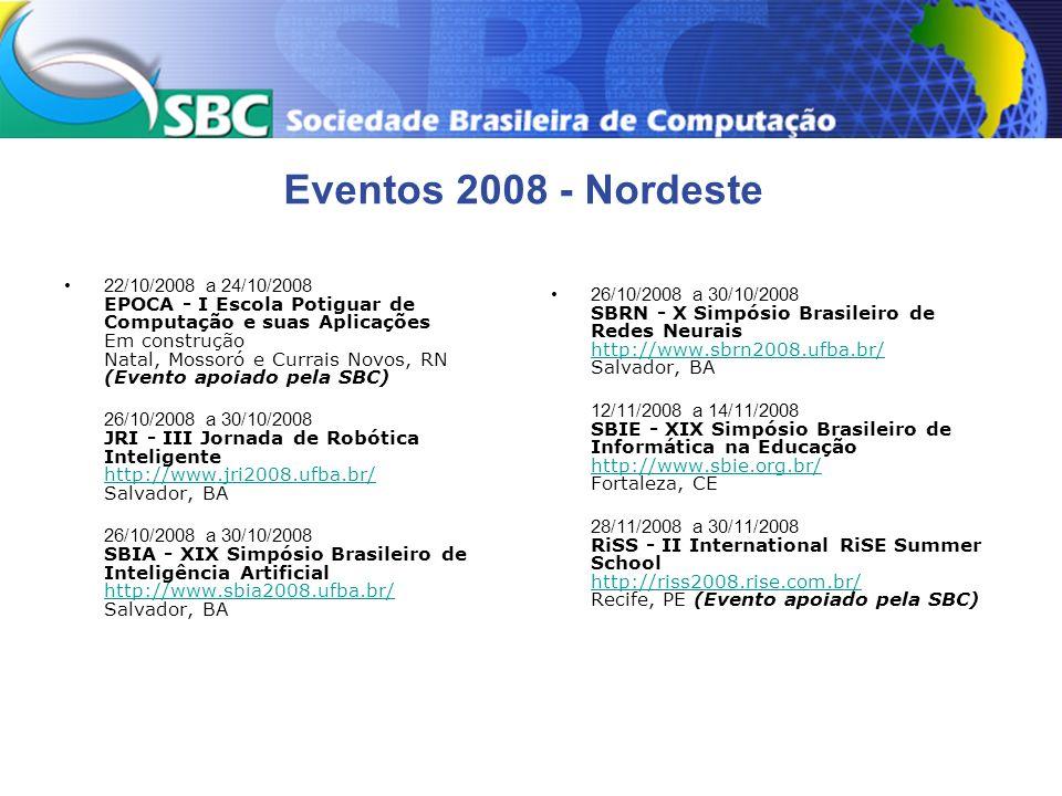 Eventos 2008 - Nordeste 22/10/2008 a 24/10/2008 EPOCA - I Escola Potiguar de Computação e suas Aplicações Em construção Natal, Mossoró e Currais Novos