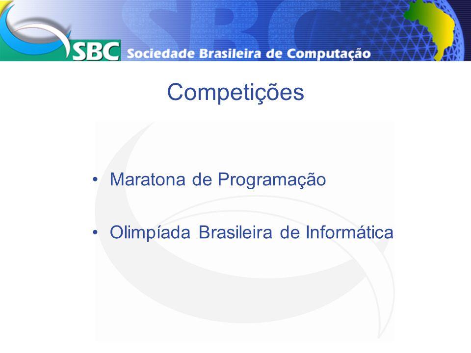 Olimpíada Brasileira de Informática (segundo grau – 10.000) Duas etapas – local e regional Melhores alunos concorrem internacional Em 2005, 2 medalhas bronze (4 alunos) (280 competidores, 70 países) Diretoria Extraordinárias Eventos Especiais 20
