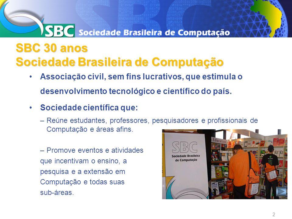 A SBC tem um papel fundamental: No avanço da Computação no Brasil - ensino, pesquisa e desenvolvimento.