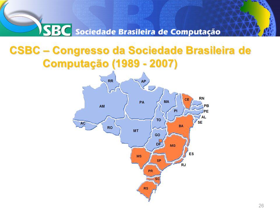 Congresso da SBC 2009 De 21 a 24 de julho de 2009 Bento Gonçalves - RS Organização: UFRGS