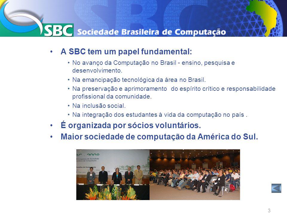A SBC tem um papel fundamental: No avanço da Computação no Brasil - ensino, pesquisa e desenvolvimento. Na emancipação tecnológica da área no Brasil.