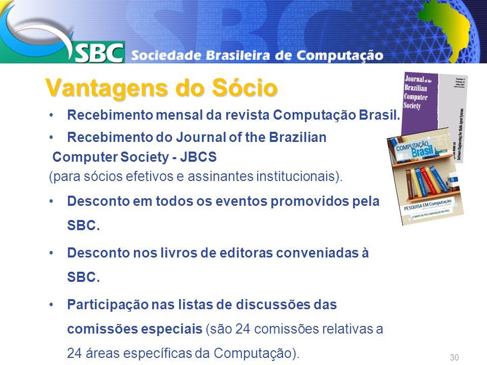 Recebimento mensal da revista Computação Brasil. Recebimento do Journal of the Brazilian Computer Society - JBCS (para sócios efetivos e assinantes in