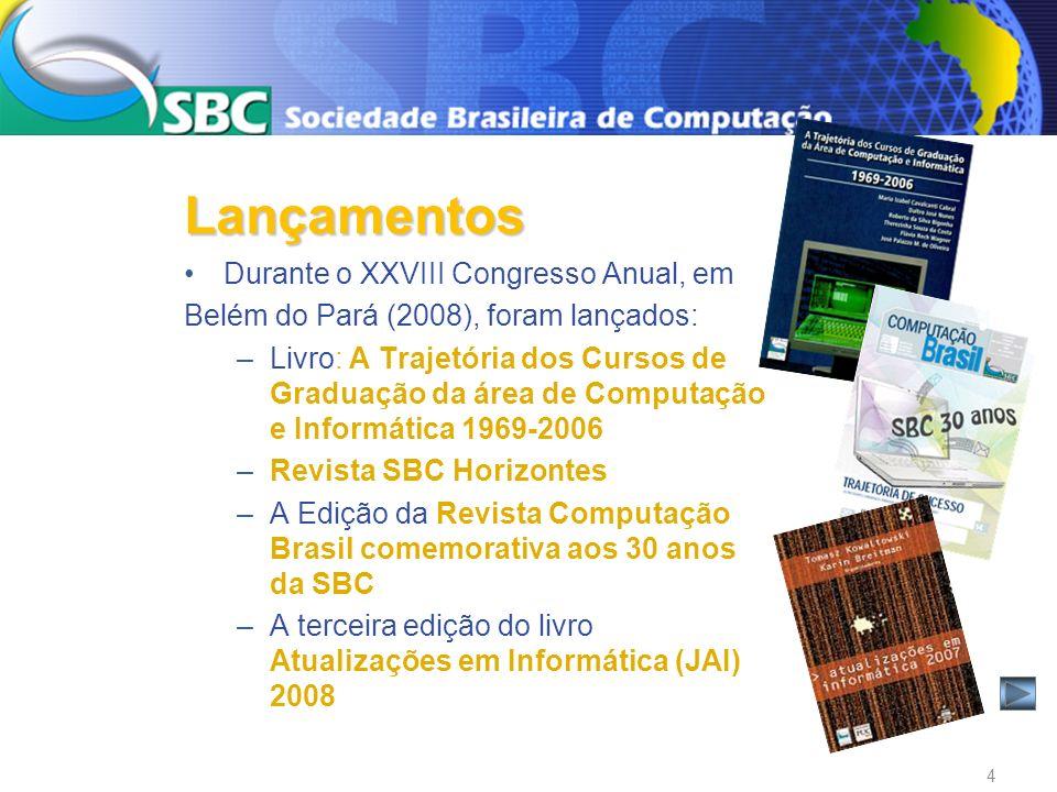 Durante o XXVIII Congresso Anual, em Belém do Pará (2008), foram lançados: –Livro: A Trajetória dos Cursos de Graduação da área de Computação e Inform