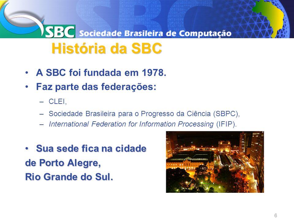 A SBC foi fundada em 1978. Faz parte das federações: –CLEI, –Sociedade Brasileira para o Progresso da Ciência (SBPC), –International Federation for In