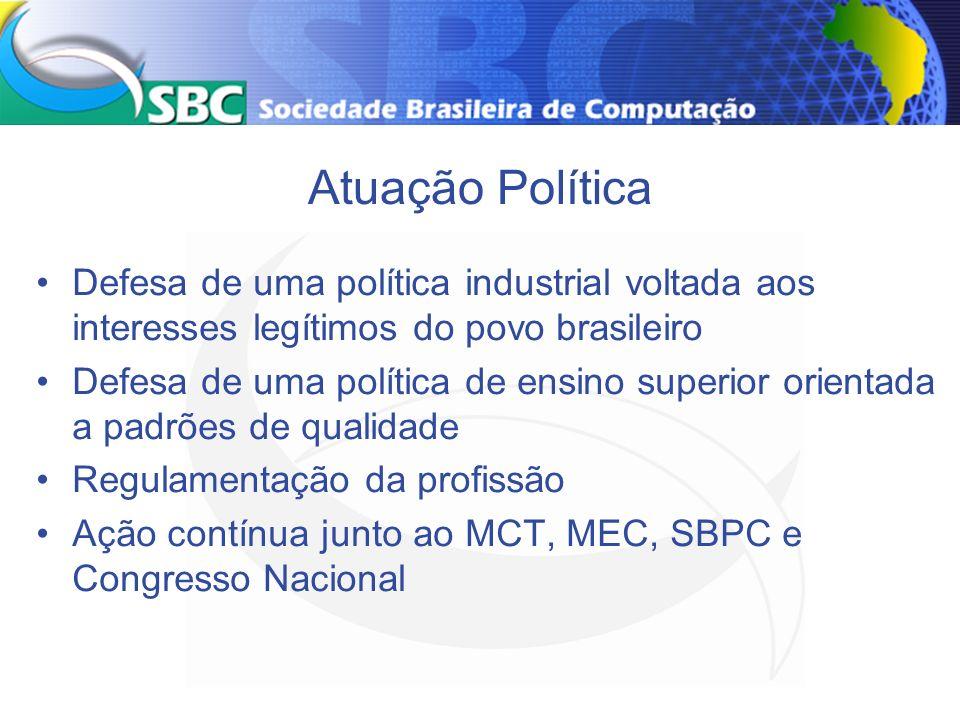 Atuação Política Defesa de uma política industrial voltada aos interesses legítimos do povo brasileiro Defesa de uma política de ensino superior orien