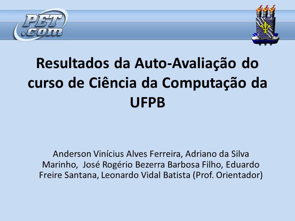 Resultados da Auto-Avaliação do curso de Ciência da Computação da UFPB Anderson Vinícius Alves Ferreira, Adriano da Silva Marinho, José Rogério Bezerr