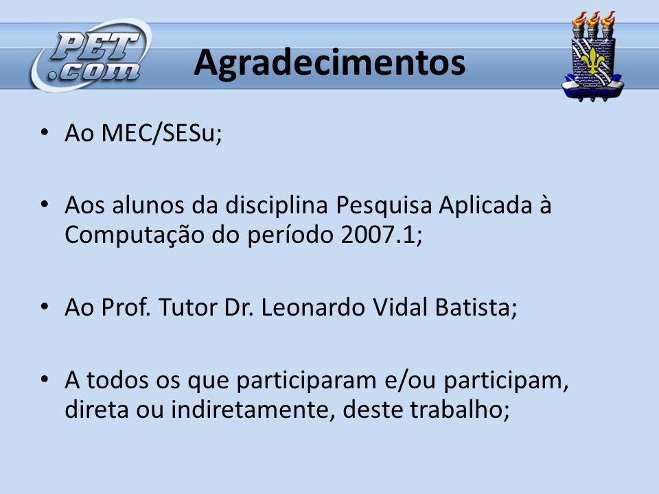 Agradecimentos Ao MEC/SESu; Aos alunos da disciplina Pesquisa Aplicada à Computação do período 2007.1; Ao Prof. Tutor Dr. Leonardo Vidal Batista; A to