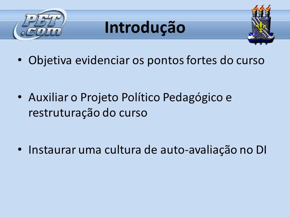 Introdução Objetiva evidenciar os pontos fortes do curso Auxiliar o Projeto Político Pedagógico e restruturação do curso Instaurar uma cultura de auto