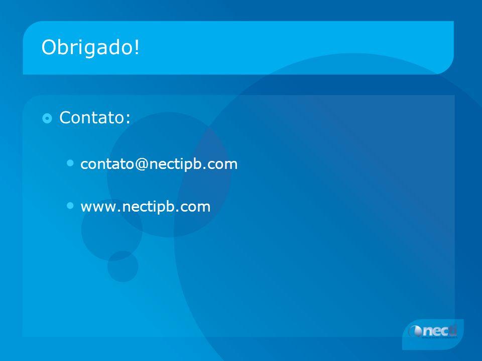 Obrigado! Contato: contato@nectipb.com www.nectipb.com