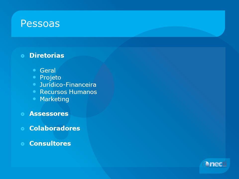 Pessoas Diretorias Geral Projeto Jurídico-Financeira Recursos Humanos Marketing Assessores Colaboradores Consultores