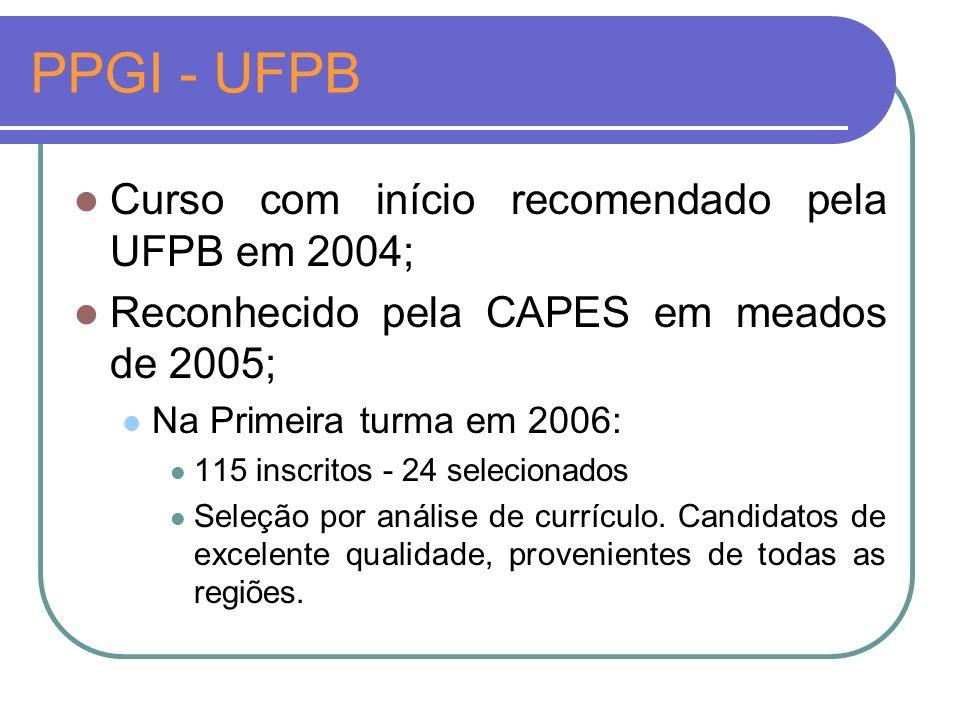 PPGI - UFPB Curso com início recomendado pela UFPB em 2004; Reconhecido pela CAPES em meados de 2005; Na Primeira turma em 2006: 115 inscritos - 24 selecionados Seleção por análise de currículo.