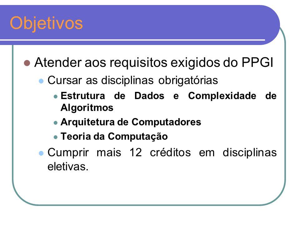 Objetivos Atender aos requisitos exigidos do PPGI Cursar as disciplinas obrigatórias Estrutura de Dados e Complexidade de Algoritmos Arquitetura de Computadores Teoria da Computação Cumprir mais 12 créditos em disciplinas eletivas.