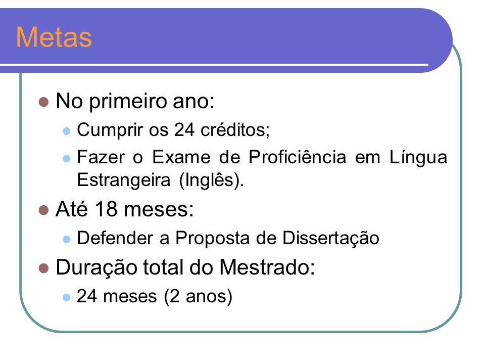 Metas No primeiro ano: Cumprir os 24 créditos; Fazer o Exame de Proficiência em Língua Estrangeira (Inglês).
