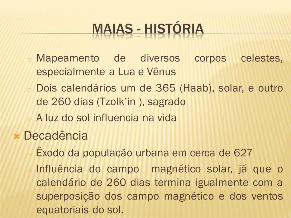 o Mapeamento de diversos corpos celestes, especialmente a Lua e Vênus o Dois calendários um de 365 (Haab), solar, e outro de 260 dias (Tzolkin ), sagrado o A luz do sol influencia na vida Decadência o Êxodo da população urbana em cerca de 627 o Influência do campo magnético solar, já que o calendário de 260 dias termina igualmente com a superposição dos campo magnético e dos ventos equatoriais do sol.