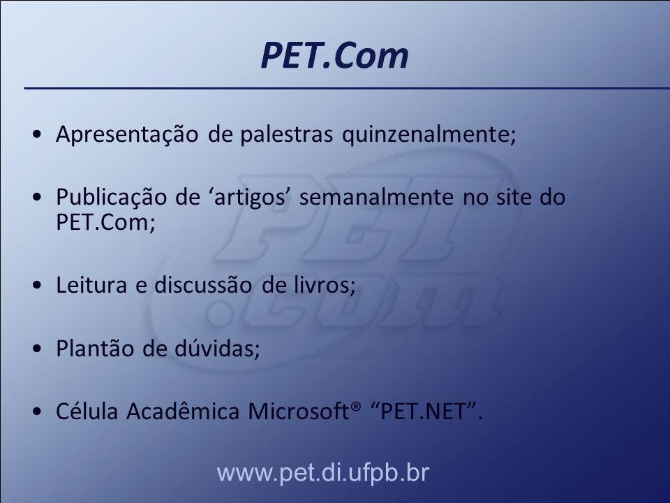 Apresentação de palestras quinzenalmente; Publicação de artigos semanalmente no site do PET.Com; Leitura e discussão de livros; Plantão de dúvidas; Cé