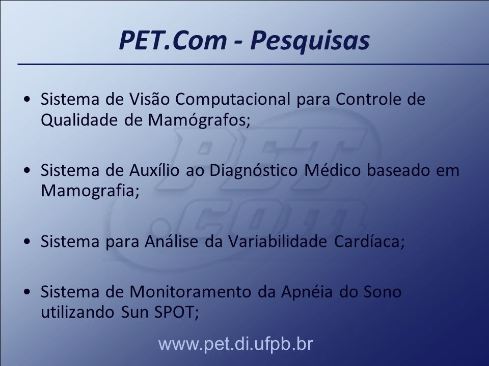 Sistema de Visão Computacional para Controle de Qualidade de Mamógrafos; Sistema de Auxílio ao Diagnóstico Médico baseado em Mamografia; Sistema para