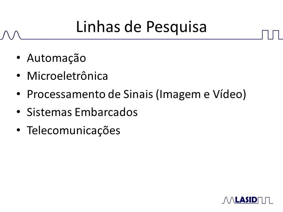 Linhas de Pesquisa Automação Microeletrônica Processamento de Sinais (Imagem e Vídeo) Sistemas Embarcados Telecomunicações