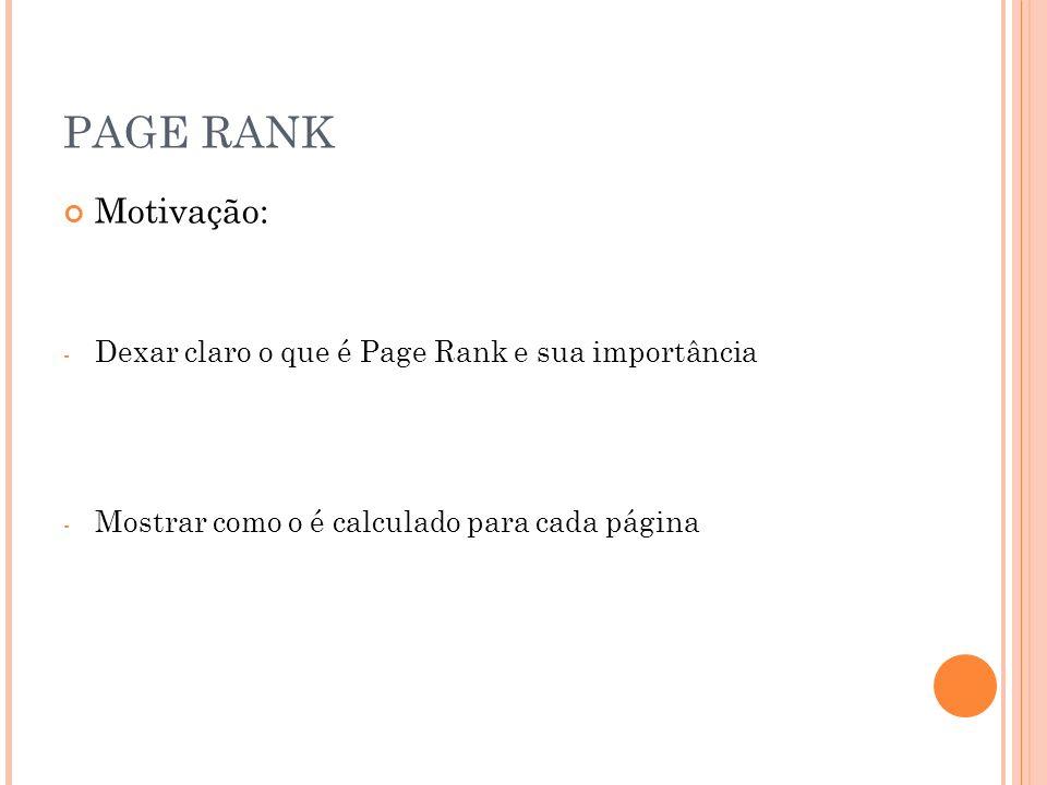 PAGE RANK Motivação: - Dexar claro o que é Page Rank e sua importância - Mostrar como o é calculado para cada página