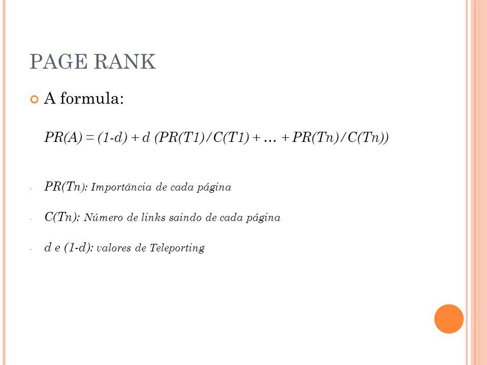 A formula: PR(A) = (1-d) + d (PR(T1)/C(T1) + … + PR(Tn)/C(Tn)) - PR(Tn ): Importância de cada página - C(Tn): Número de links saindo de cada página - d e (1-d): valores de Teleporting