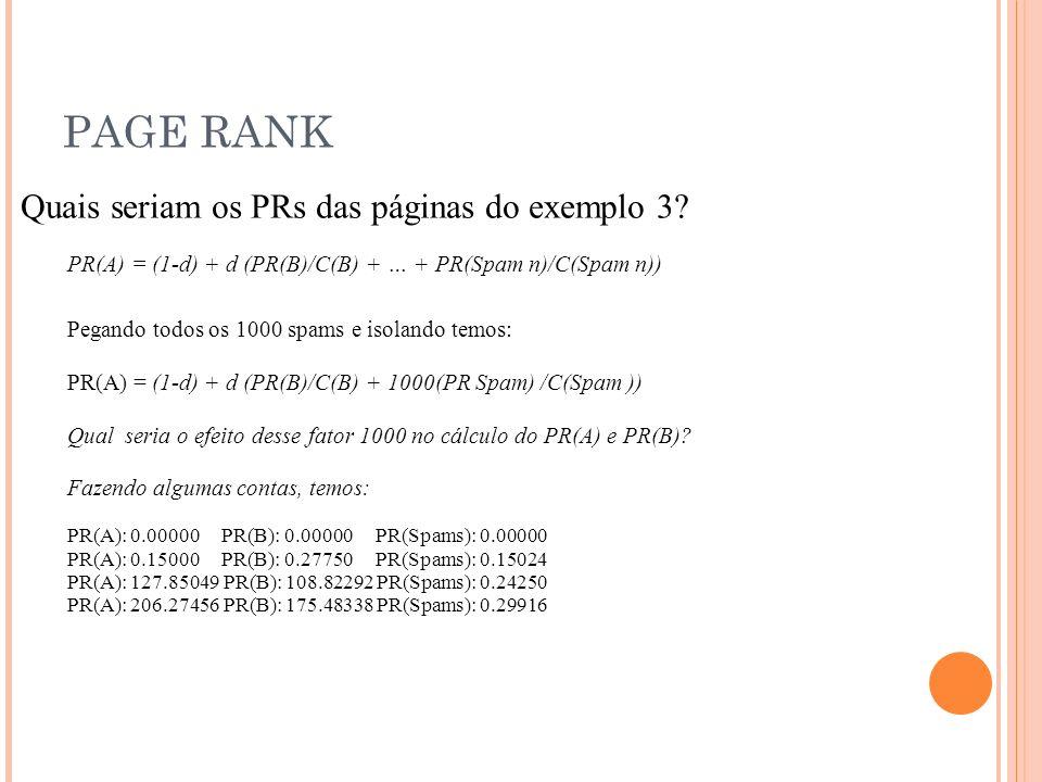 PAGE RANK Quais seriam os PRs das páginas do exemplo 3.