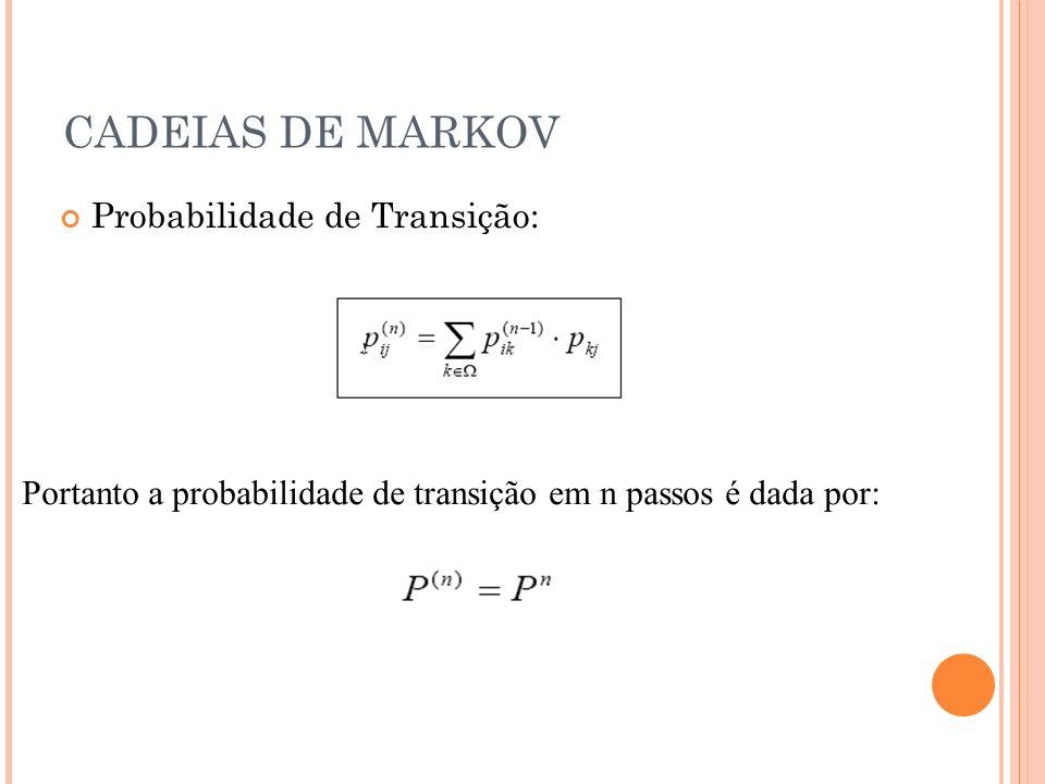 CADEIAS DE MARKOV Matriz de transição para 3 passos: Visto isso, podemos dizer que se P for uma matriz estocástica, então qualquer potência de P o é, pois: