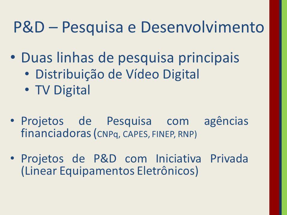 P&D – Pesquisa e Desenvolvimento Duas linhas de pesquisa principais Distribuição de Vídeo Digital TV Digital Projetos de Pesquisa com agências financi