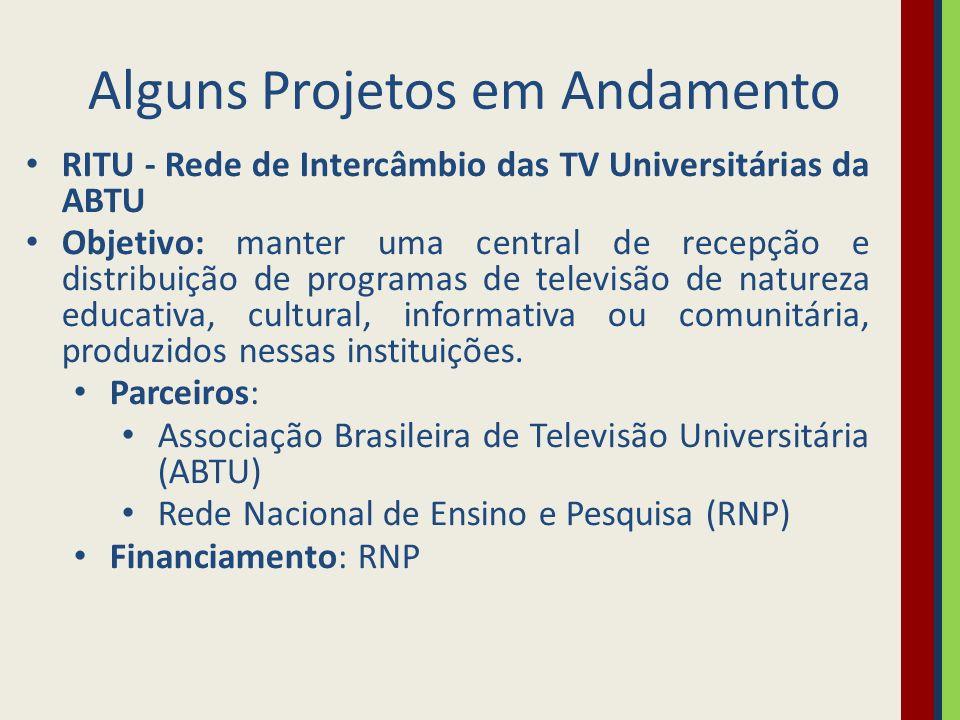 Alguns Projetos em Andamento RITU - Rede de Intercâmbio das TV Universitárias da ABTU Objetivo: manter uma central de recepção e distribuição de programas de televisão de natureza educativa, cultural, informativa ou comunitária, produzidos nessas instituições.