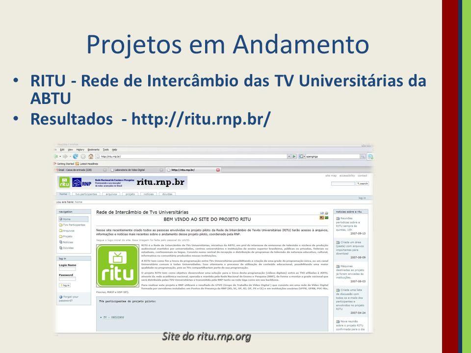 Projetos em Andamento RITU - Rede de Intercâmbio das TV Universitárias da ABTU Resultados - http://ritu.rnp.br/ Site do ritu.rnp.org