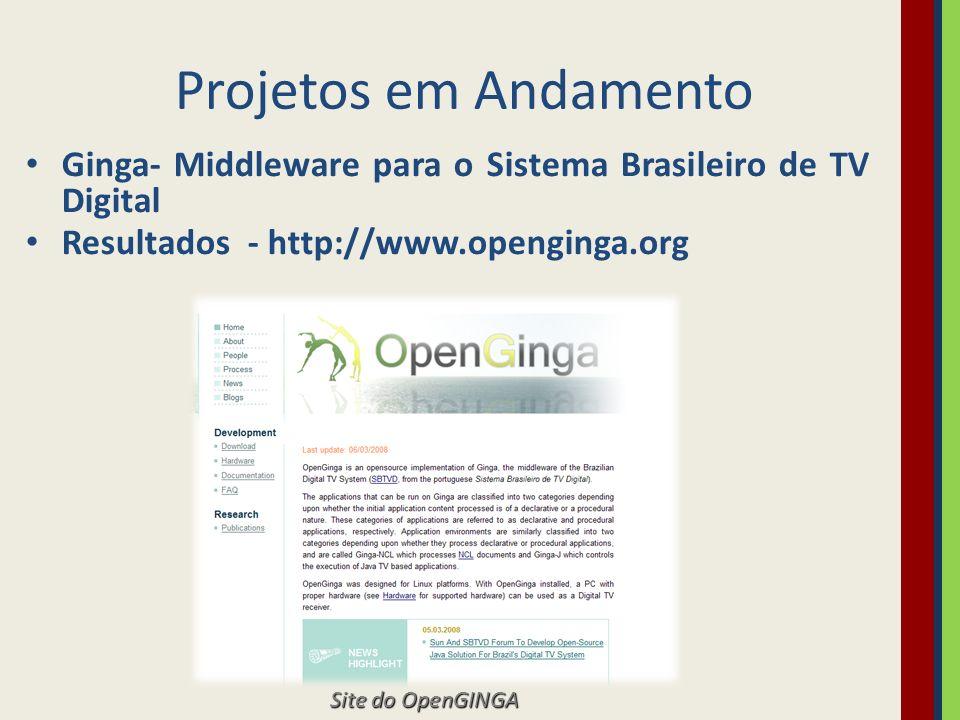 Projetos em Andamento BEACON - Brazilian European Consortium for DTT Services ( http://www.beacon-dtt.com) Objetivo: ( 1) desenvolver serviços inovadores na área de t-learning (aprendizado à distância através de televisão digital interativa), ligados à inclusão social.