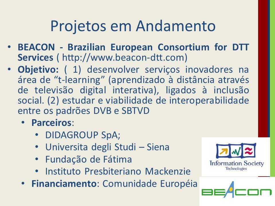 Projetos em Andamento BEACON - Brazilian European Consortium for DTT Services ( http://www.beacon-dtt.com) Objetivo: ( 1) desenvolver serviços inovado