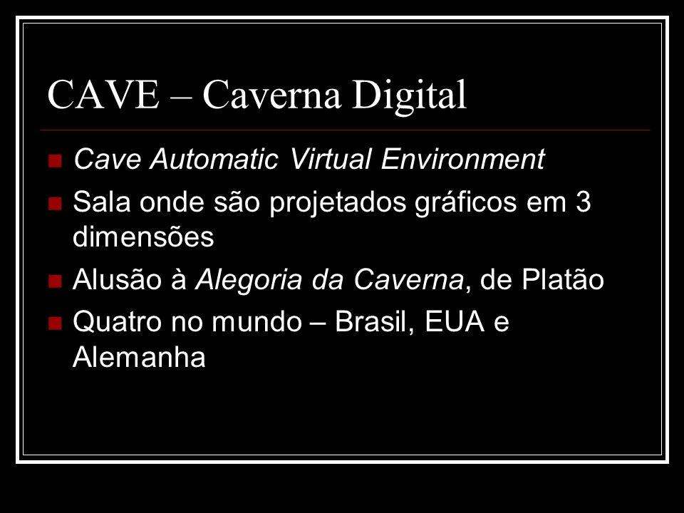 CAVE – Caverna Digital Cave Automatic Virtual Environment Sala onde são projetados gráficos em 3 dimensões Alusão à Alegoria da Caverna, de Platão Qua