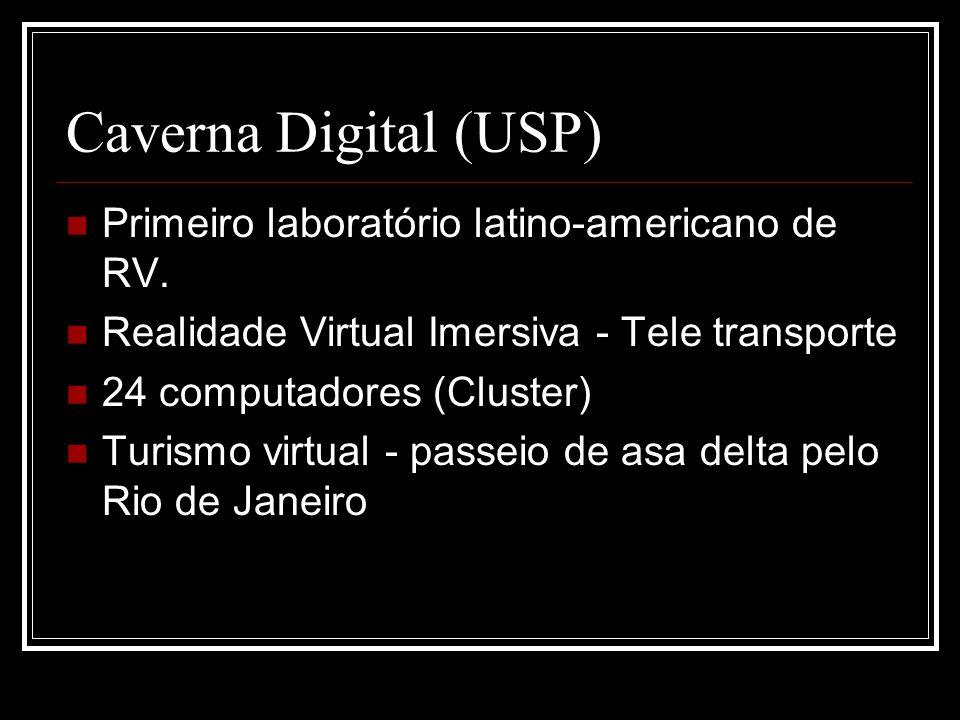 Caverna Digital (USP) Primeiro laboratório latino-americano de RV. Realidade Virtual Imersiva - Tele transporte 24 computadores (Cluster) Turismo virt