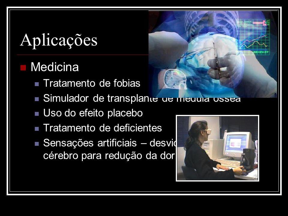 Aplicações Medicina Tratamento de fobias Simulador de transplante de medula óssea Uso do efeito placebo Tratamento de deficientes Sensações artificiai