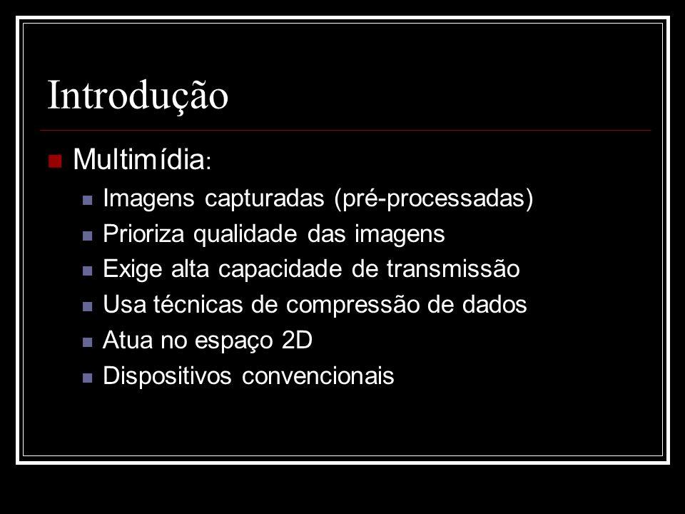 Introdução Multimídia : Imagens capturadas (pré-processadas) Prioriza qualidade das imagens Exige alta capacidade de transmissão Usa técnicas de compr