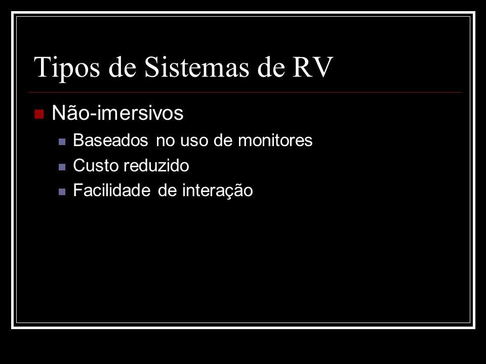 Tipos de Sistemas de RV Não-imersivos Baseados no uso de monitores Custo reduzido Facilidade de interação