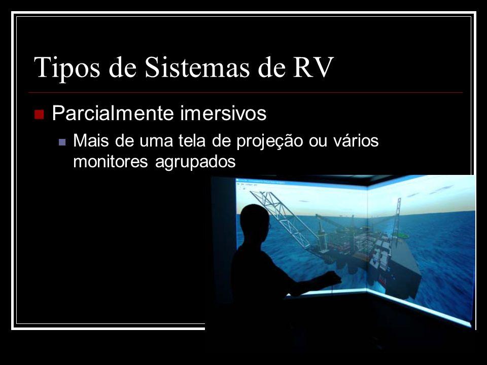 Tipos de Sistemas de RV Parcialmente imersivos Mais de uma tela de projeção ou vários monitores agrupados