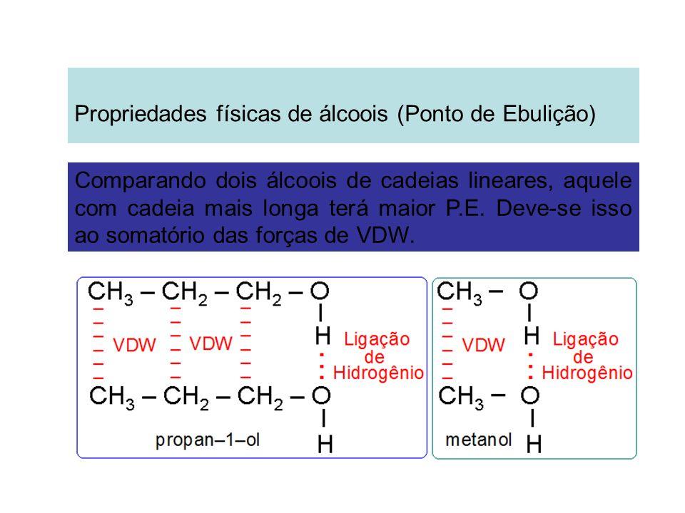 Comparando dois álcoois de cadeias lineares, aquele com cadeia mais longa terá maior P.E. Deve-se isso ao somatório das forças de VDW.