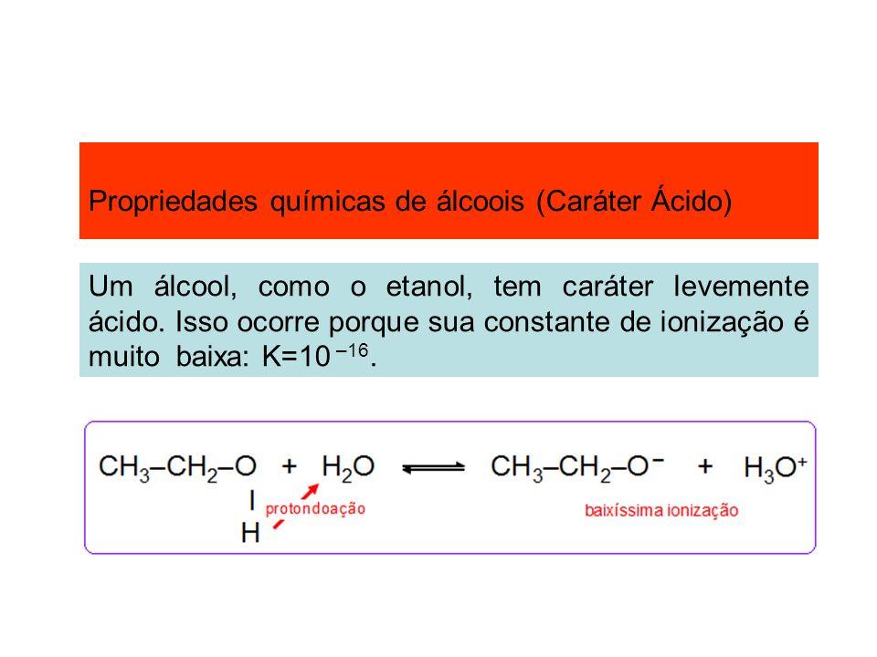 Propriedades químicas de álcoois (Caráter Ácido) Um álcool, como o etanol, tem caráter levemente ácido. Isso ocorre porque sua constante de ionização