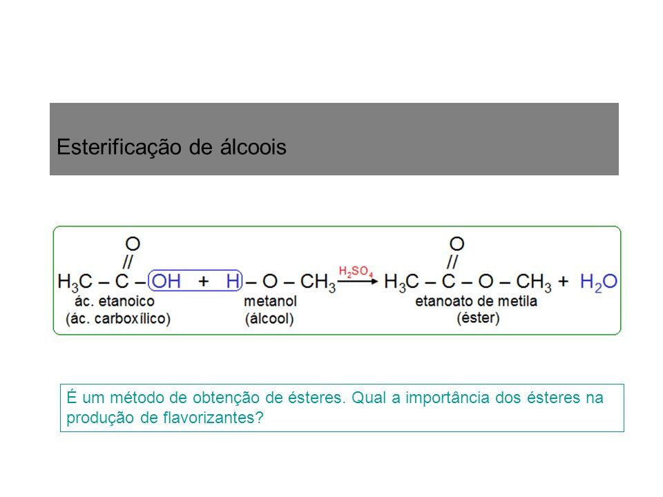 Esterificação de álcoois É um método de obtenção de ésteres. Qual a importância dos ésteres na produção de flavorizantes?