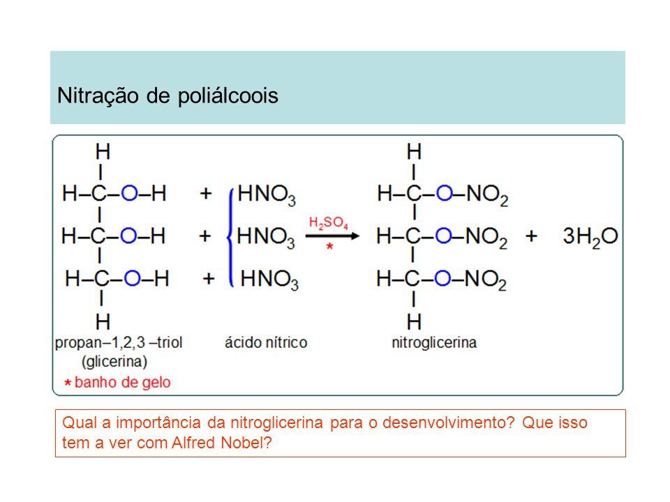 Nitração de poliálcoois Qual a importância da nitroglicerina para o desenvolvimento? Que isso tem a ver com Alfred Nobel?