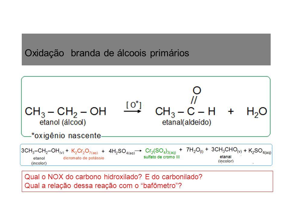 Oxidação branda de álcoois primários Qual o NOX do carbono hidroxilado? E do carbonilado? Qual a relação dessa reação com o bafômetro?