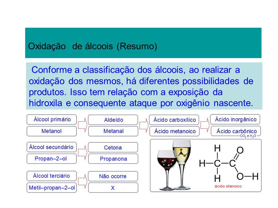 Oxidação de álcoois (Resumo) Conforme a classificação dos álcoois, ao realizar a oxidação dos mesmos, há diferentes possibilidades de produtos. Isso t
