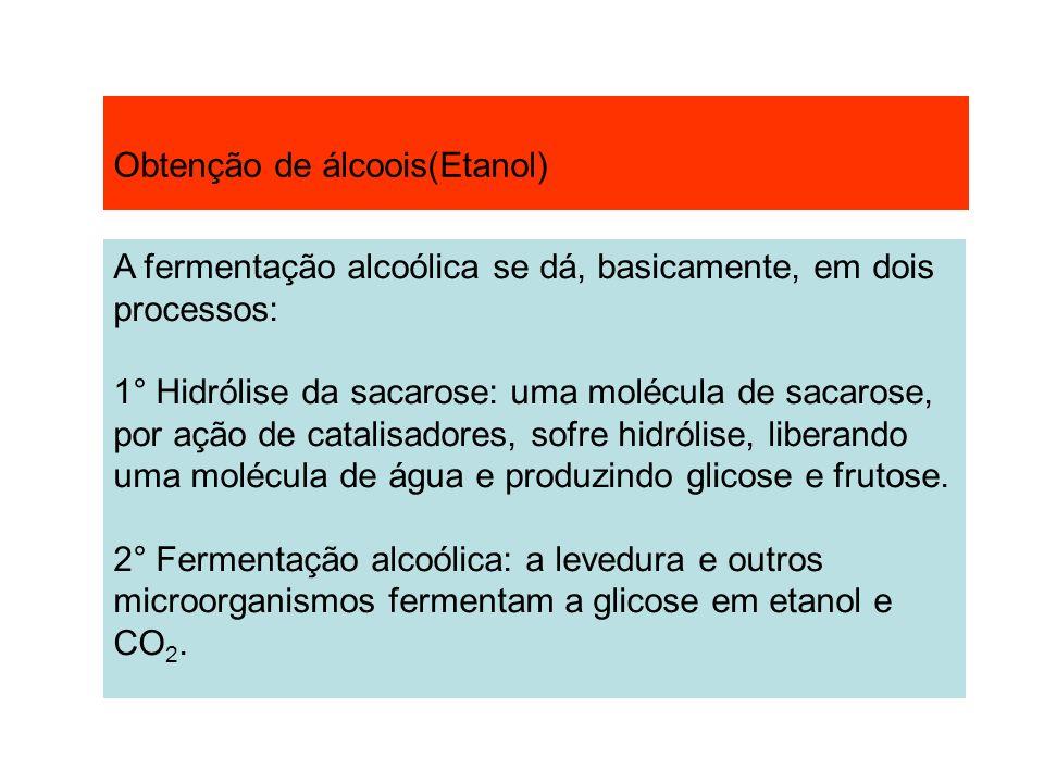 Obtenção de álcoois(Etanol) A fermentação alcoólica se dá, basicamente, em dois processos: 1° Hidrólise da sacarose: uma molécula de sacarose, por açã