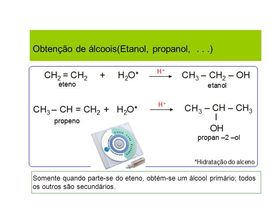 Obtenção de álcoois(Etanol, propanol,...) Somente quando parte-se do eteno, obtém-se um álcool primário; todos os outros são secundários.