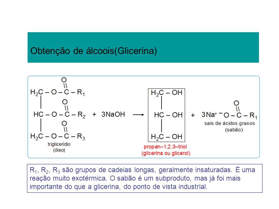 Obtenção de álcoois(Glicerina) R 1, R 2, R 3 são grupos de cadeias longas, geralmente insaturadas. É uma reação muito exotérmica. O sabão é um subprod