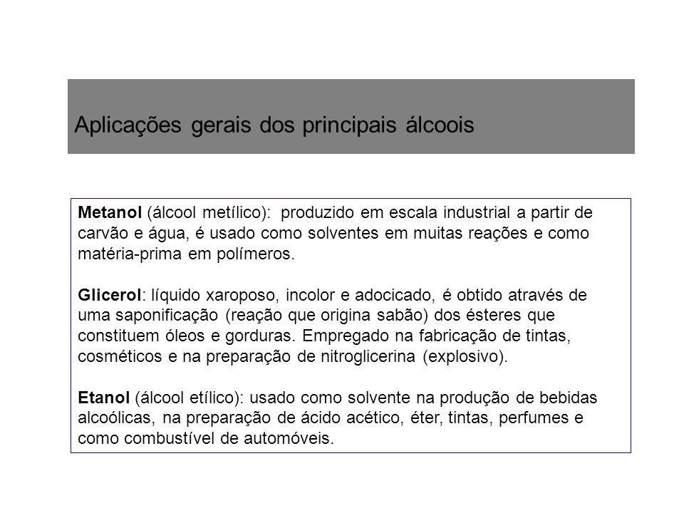 Aplicações gerais dos principais álcoois Metanol (álcool metílico): produzido em escala industrial a partir de carvão e água, é usado como solventes e
