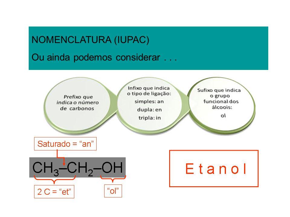 NOMENCLATURA (IUPAC) Ou ainda podemos considerar...
