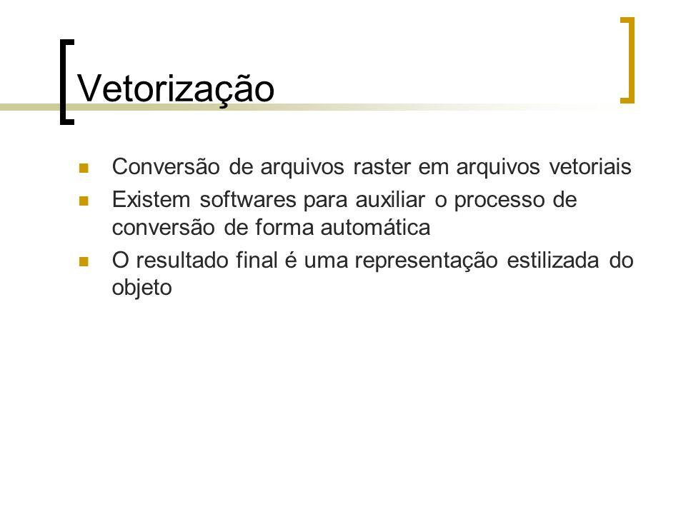 Vetorização Conversão de arquivos raster em arquivos vetoriais Existem softwares para auxiliar o processo de conversão de forma automática O resultado