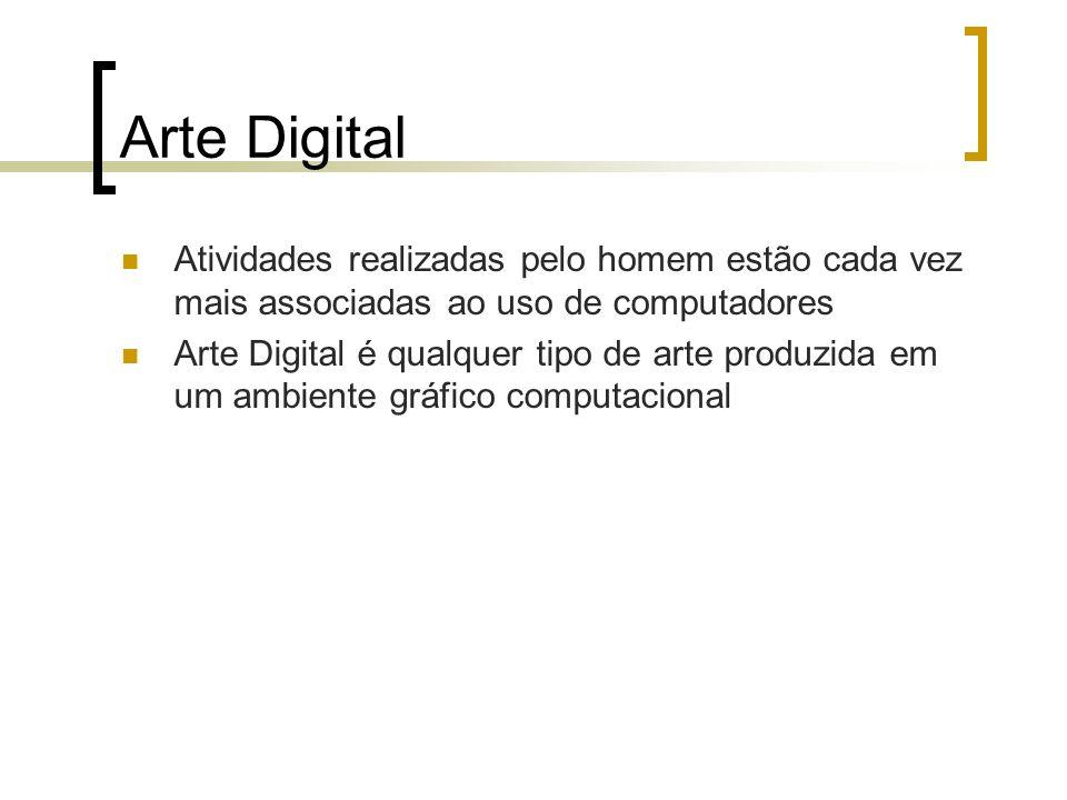 Arte Digital Atividades realizadas pelo homem estão cada vez mais associadas ao uso de computadores Arte Digital é qualquer tipo de arte produzida em